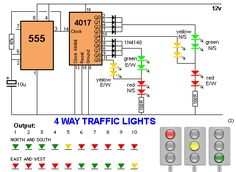 4 way traffic lights circuit Electronics Projects, Electronic Circuit Projects, Electronics Basics, Hobby Electronics, Electronics Components, Electronic Engineering, Electrical Engineering, Electronic Kits, Electronics Gadgets
