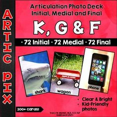 Artic Pix K, G, F sounds. 24 initial, 24 medial, 24 final positions of words. Bright & clear!