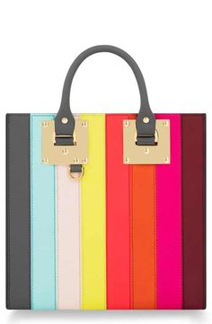 Sophie Hulme Rainbow Stripe Albion Leather Tote