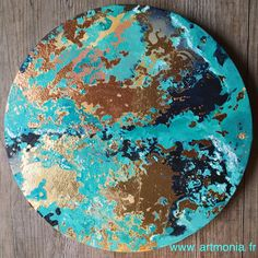 Curaçao. Ou la planète vue du ciel. Techniques mixtes. Toile sur châssis rond, diamètre 25 cm. Dorure et cuivre. www.artmonia.fr Creations, Foil Stamping, Sky View, Copper, Drawings, Canvas