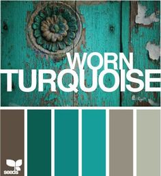 Worn Turquoise by Design Seeds, with color codes---color scheme for dining room- except through some red accents in there wedding fall ideas / april wedding / wedding color pallets / fall wedding schemes / fall wedding colors november Design Seeds, Bd Design, Couch Design, Design Color, Floor Design, Color Pallets, Paint Pallets, My New Room, House Colors