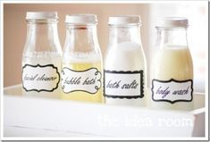 DIY Labeled Bathroom Jars. Perfect for Guest Basket