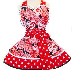 """Peppermint Twist"" Christmas Apron Christmas Aprons, Peppermint, Pin Up, Costumes, Tie, Dresses, Fashion, Vestidos, Moda"