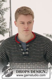 "Knitted DROPS men's jumper with Norwegian pattern in ""Karisma"". Size: S - XXXL. ~ DROPS Design"