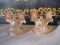 Antique Rose Pink Candle Holders Candelabras or Sconces Depression Glass