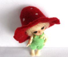 Felted hat Mushroom for Lati White Pukipuki and dolls by Valyashki