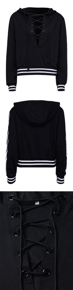 CHICLOOKCLOSET | Black Plunge Lace Up Front Stripe Trims Hoodie.