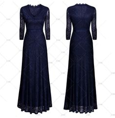 """This is a beautiful formal evening / cocktail dress. The dress has a v-neck line, is made of polyester and spandex, has a 3/4 sleeve, is full length, and is available in three color choices: Black, Red Wine and Dark Blue. The dress has a full polyester lining and is made of 90% polyester and 10% spandex.        This dress has the following measurements:    Size Small = US 4, 32.3"""" - 35.0"""" Bust Range, 27.2"""" Waist, 57.1"""" Total Dress Length    Size Medium = US 6 - 8, 34.3"""" - 37.0"""" Bust Range…"""