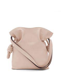 LOEWE FLAMENCO KNOT SMALL BUCKET BAG, ASH. #loewe #bags #shoulder bags #leather #bucket #lining #
