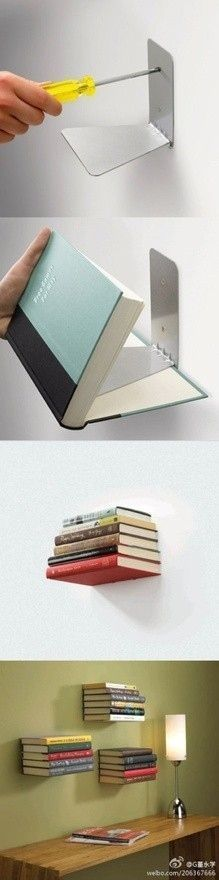 31 Insanely Easy And Clever DIY Projects Make floating bookshelves with cheap metal bookends!I love the look of floating books! Floating Bookshelves, Book Shelves, Bookshelf Ideas, Book Storage, Storage Ideas, Creative Bookshelves, Hanging Storage, Wall Shelves, Organizing Bookshelves
