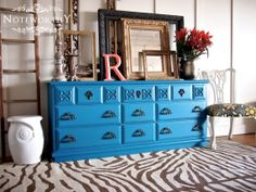 Dark Teal Dresser/Buffet/Changing Table by noteworthyhome on Etsy, $500.00 Turquoise, Teal, Aqua, Dresser, Buffet, Ornate Gold Hardware, Blue, Painted Buffet, Painted Furniture