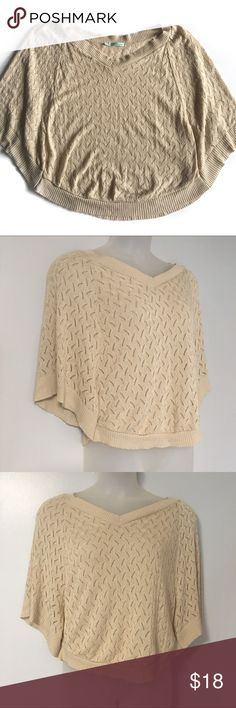 """❤️ Maurices Batwing Layering Sweater F10 Maurices crochet batwing layering sweater // Women's M // 100% acrylic // color is oatmeal/tan // minimal pilling // non-smoking home // 9.21.17.15 6.2o  Length: 22"""" Maurices Sweaters V-Necks"""