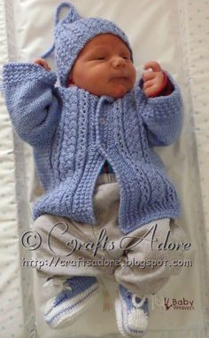 Free knitting pattern for Handsome Cables Baby Cardigan and matching Cabled Gnome Hat