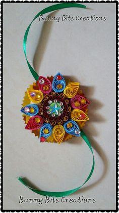 Quilled Rakhi Quilling Rakhi, Quilling Craft, Paper Quilling, Happy Raksha Bandhan Images, Rakhi Making, Handmade Rakhi, Quilled Roses, Happy Rakshabandhan, Creative Kids