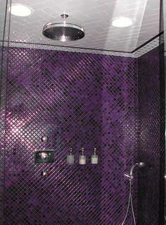 Purple shower tiles