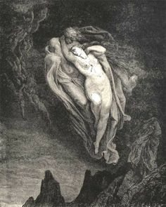 Gustave Doré's illustration of Paolo & Francesca, from Dante's Divine Comedy
