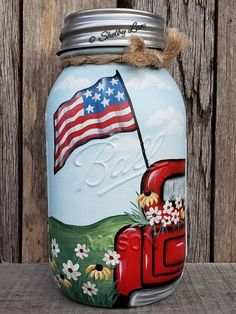 Painted Mason Jar, Red Truck, Red Truck Painting, Patriotic Mason Jar, Quart Jar – Famous Last Words Pint Mason Jars, Ball Mason Jars, Mason Jar Gifts, Mason Jar Diy, Gift Jars, Jar Crafts, Bottle Crafts, Truck Paint, Jar Art