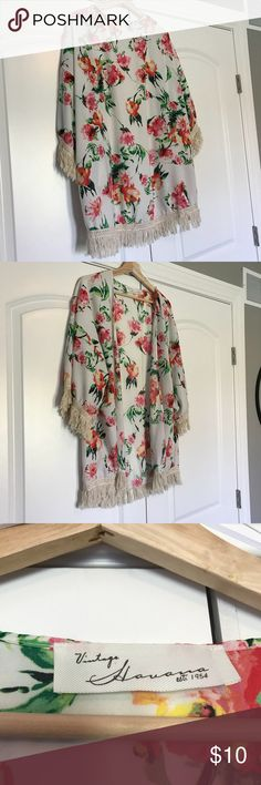 Floral Kimono with Fringe Lightweight floral kimono with fringe detail. Off white background with pink, orange, green floral print. Like new— worn as a swim coverup or with jeans. Non smoking Home. Perfect condition. Vintage Havana Other