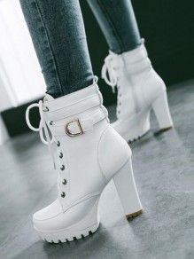 White Lacing With Belt Block Heel Platform High Heel Boots .- Weiß Schnürung Mit Gürtel Blockabsatz Plateau High Heel Stiefeletten Elegante… White Lacing With Belt Block Heel Platform High Heel Ankle Boots Elegant Women Winter Shoes Short Ankle Boots - Knee High Stiletto Boots, White High Heel Boots, Stiletto Heels, High Heel Stiefel, Short Ankle Boots, Knee Boots, Ankle Boot Heels, Women's Boots, Platform Ankle Boots