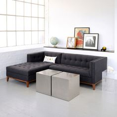 Atwood Sectional. Wood base legs are finished in walnut natural wood veneer. Blind-tufted seat. Available through HighStreet.