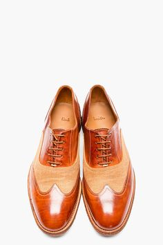 PAUL SMITH Brown leather & burlap DENNIS austerity brogues