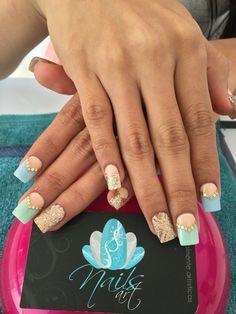 Acrylic Nails, Nails art, gold Nails