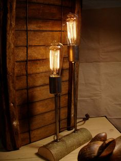 Rustic Natural Lighting Industrial Lighting Wood and Steel Table Lamp by Stonehill Design
