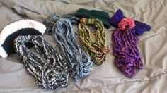 Crochet rope scarfs, with matching hat or ear warmers.