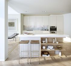 A South Bank, London, kitchen that Liz Seuseu worked on while living in England. Living In England, Hardwood Floors, Flooring, London Landmarks, World Of Interiors, Pent House, Beautiful Kitchens, Interiores Design, Kitchen Interior