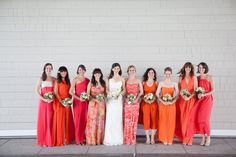 Oooh, we just love thes #mixedbridesmaid dresses!  Santa Monica Wedding from Birds of a Feather   Read more - http://www.stylemepretty.com/2013/06/11/santa-monica-wedding-from-birds-of-a-feather/