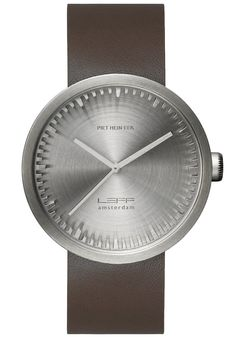 LEFF Amsterdam Tube Watch Leather D42 Steel/Brown (LT72002)