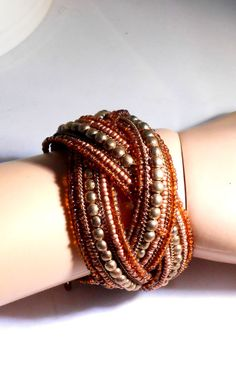 Braided Bead Memory Wire Cuff Bracelet Brown Gold 7 Strands 1612
