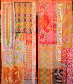 """""""Portobello Road"""" gypsy curtains handmade by Babylon Sisters. New purchased orange sheer curtain panels with rod pocket tops. Layers of vintage chiffon scarves in mod prints. Each panel measures wide and long. White Sheer Curtains, Sheer Curtain Panels, Panel Curtains, Scarf Curtains, Gypsy Curtains, Gypsy Decor, Bohemian Decor, Window Coverings, Window Treatments"""