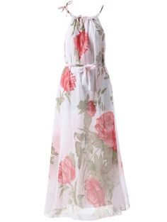 Round Collar Sleeveless Floral Print Maxi Dress #womensfashion #pinterestfashion #buy #fun#fashion