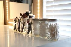 Mason jars for your brushes and toiletries - her bathroom