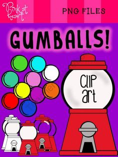 Gumballs Clip Art from Pink at Heart on TeachersNotebook.com -  (22 pages)  - png files - Gumballs Clip Art