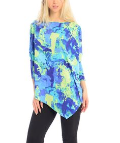 Love this Green & Blue Paint Asymmetrical-Hem Cape-Sleeve Tunic by Zac Studio on #zulily! #zulilyfinds