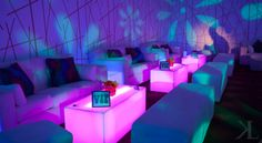 Lit cubes and floral gobos for teen lounge area