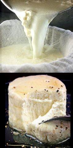 Homemade Ricotta Cheese - 4 Ingredients, 2 minutes cooking time. SO much better than store bought! Outside of the typical uses, try it with honey and black pepper! Amazing!