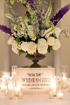 A video booth at your wedding can be a novel way to engage your guests - think about how it can enhance your big day! Purple Wedding, Trendy Wedding, Fall Wedding, Our Wedding, Wedding Flowers, Dream Wedding, Rustic Wedding, Wedding Dresses, Wedding Guest Book