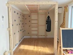 I built an indoor play structure for my kids.- I built an indoor play structure for my kids. I built an indoor play structure for my kids. Kids Indoor Gym, Indoor Jungle Gym, Indoor Playroom, Kids Gym, Kid Playroom, Playroom Design, Kids Indoor Playground, Basement Gym, Basement Remodeling