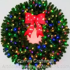 3 Foot Multi-Color L. Christmas Wreath with Pre-lit Red Bow - 36 inch - 100 LED Lights - Commercial Grade - Indoor - Outdoor Christmas Wreaths With Lights, Artificial Christmas Wreaths, Outdoor Christmas Decorations, Holiday Decor, Diy Wreath, Ornament Wreath, Red Berries, How To Make Wreaths, Bow