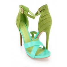 Green Ankle Strap Single Sole Heels Faux Leather