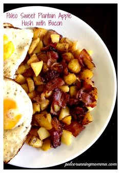 Sweet plantain apple bacon hash, paleo and whole30 friendly. Crisp sweet pink lady apples, caramelized plantains, and sugar free bacon.