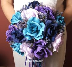 royal blue wedding flowers---not my colors but so pretty Blue And Purple Flowers, Blue Wedding Flowers, Turquoise And Purple, Purple Wedding, Wedding Colors, Wedding Bouquets, Pretty Flowers, Silk Flowers, Bridesmaid Bouquets