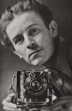 Photographer Hein Gorny with his Linhof camera (Self-portrait), Germany, 1937