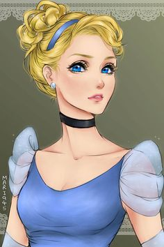 Disney Girls Drawn in Anime Style