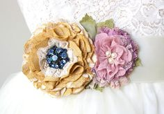 Colorful Floral Bridal Belt - Yellow and Lilac Blossoms