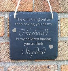 Personalised fathers day gift for #stepdad slate #hanging #plaque sign,  View more on the LINK: http://www.zeppy.io/product/gb/2/172173939180/