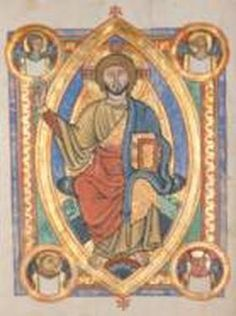 """Christ in Majesty shown within a mandorla (vesica) shape in a medieval illuminated manuscript. It shows Christ surrounded by the """"animal"""" symbols of the four evangelists. Date circa 1220 Christus Pantokrator, The World Tarot Card, Romanesque Art, Occult Symbols, Occult Art, Animal Symbolism, Ancient Mysteries, Medieval Art, Christian Art"""